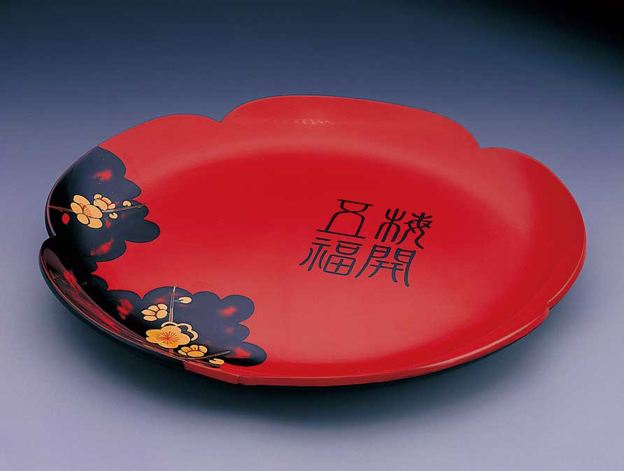 陳火慶-梅花型漆繪大盤